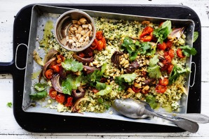 This couscous absorbs both the stock and the roasting juices from the tomato to yield a dish that's strongly savoury and ...