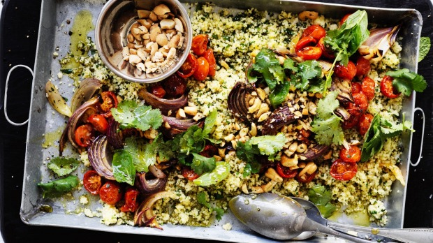Roasted tomato and cashew cous cous.