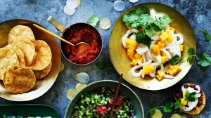 Let your guests construct their own calamari and mango tostadas.