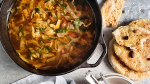 Chorizo cabbage soup goes really well with our pita bread.
