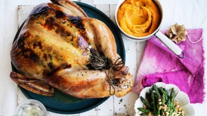 Neil Perry's roast turkey with stuffing.