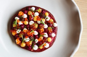 Beetroot pancake with trout roe and lemon curd.