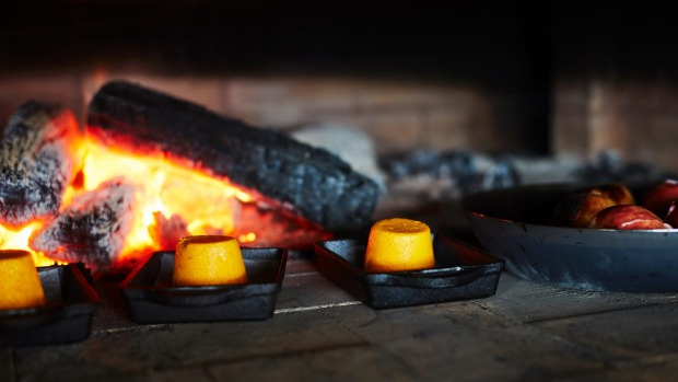 The wood fire at the heart of Phil Wood's kitchen.
