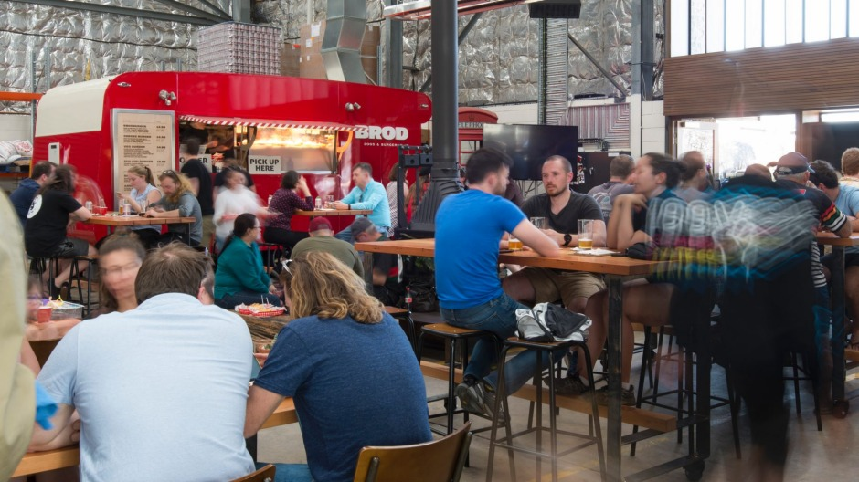 The legendary red Brodburger caravan at Capital Brewing Co., Canberra.