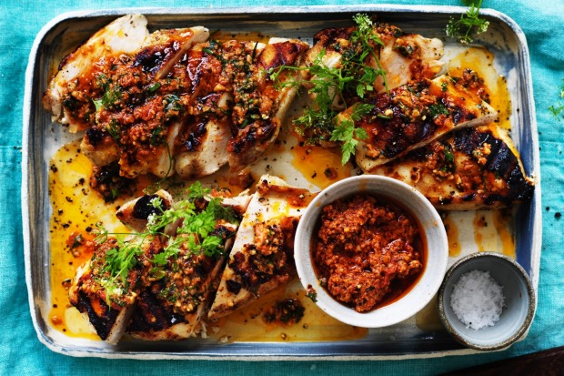 Neil Perry's barbecued chicken breast with Spanish romesco sauce <a ...