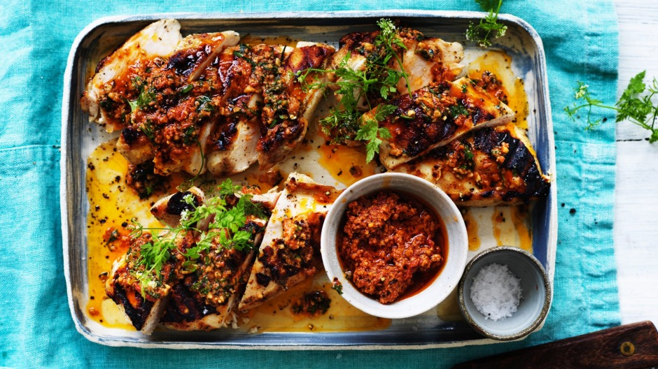 Barbecued chicken with Spanish romesco sauce.