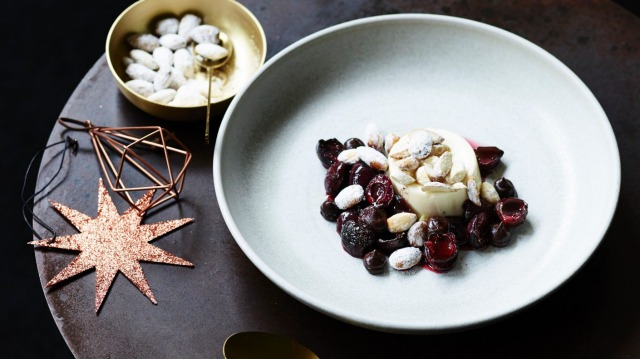 Mascarpone cream, roast cherries with Christmas spices and chocolate sauce.