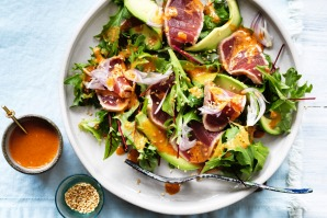 Neil Perry's seared tuna salad is colourful and nutritious.