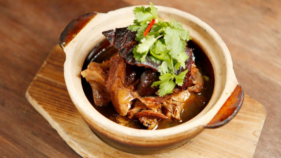 The pork hock in a clay pot is made from scratch.
