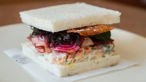 Josh Niland's hot smoked salmon sandwich is a great way to use up leftover fish at Christmas (see recipe below).