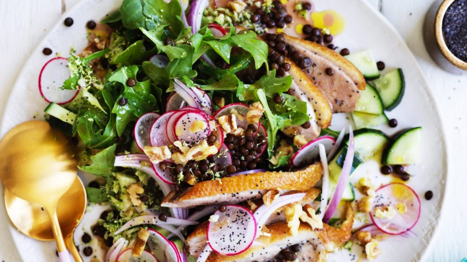 If it's too hot, sub in tinned lentils for this summery duck salad.