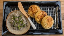 Letting the produce do the talking: Sardine pate on crumpets.