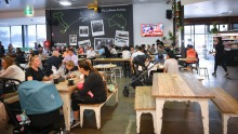 Buzzing: the cafe inside the sprawling LaManna supermarket at Essendon Fields.