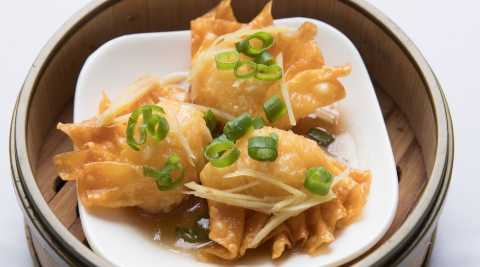 Kick off with prawn and fresh ginger dumplings.