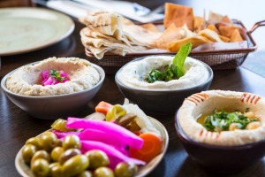 Dips, olives and pickles at Mama Manoush.