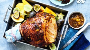 Adam Liaw's glazed ham with a tropical twist.