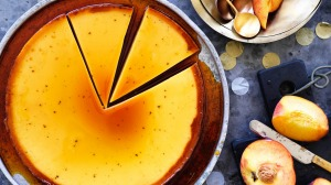 Neil Perry's caramel flan with peaches.