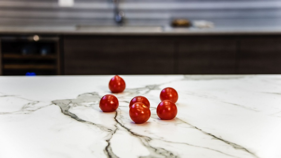 Beware: Fruit and veg can stain natural stone benches, as one of Gilmer's clients discovered.