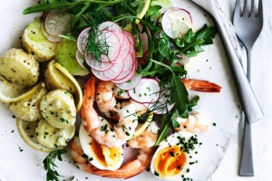 Jill Dupleix's prawn and potato salad.