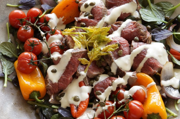 Rare roast beef, sweet roasted peppers and tomatoes with horseradish cream <a ...