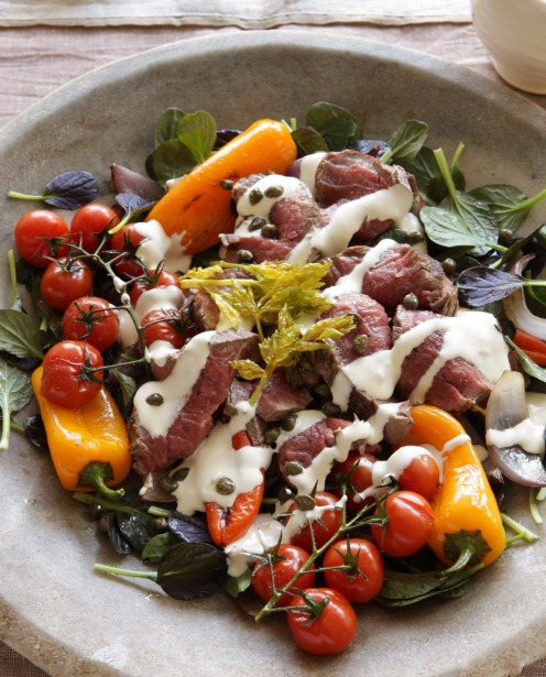 Rare roast beef, sweet roasted peppers with tatsoi, tomatoes and horseradish cream <a ...
