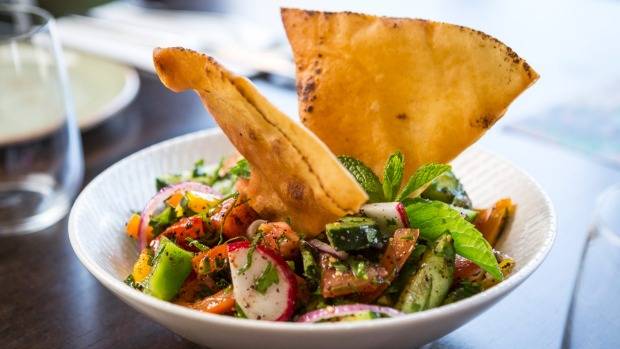 Fresh fattoush salad spiked with fried pita shards.
