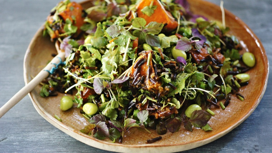 Vegan ginger, miso and sesame dressing with roast pumpkin, wild rice and edamame salad makes a good pegan dish.