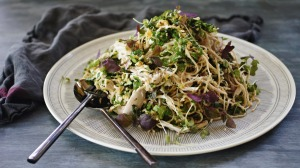 Poached chicken and soba noodle salad with spicy nut dressing.