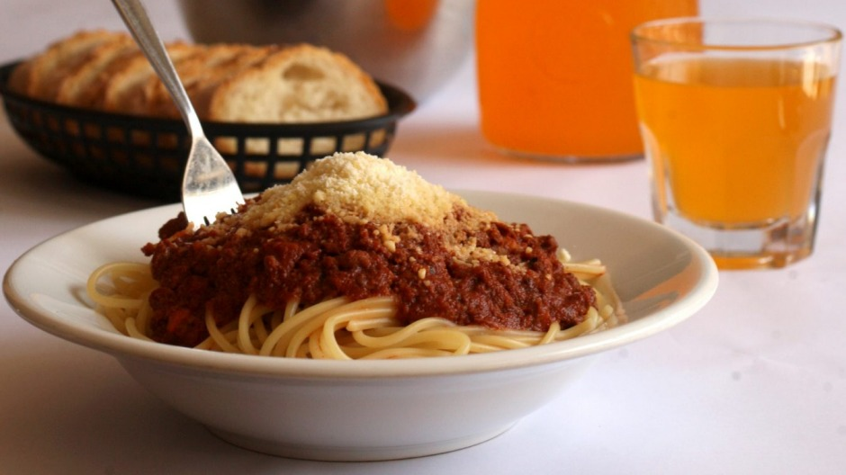 Bill and Toni's essentials: spag bol, orange cordial and a basket of bread.