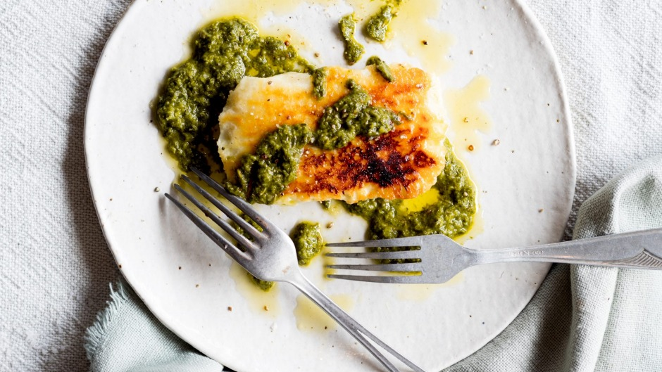Grilled haloumi and salsa verde.