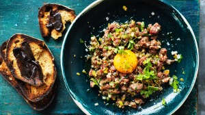 Adam Liaw's Aussie steak tartare with Vegemite toast.