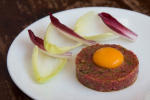 Beautifully chopped steak tartare.