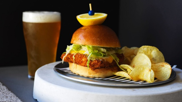 Crispy fish sandwich at Bondi Beach Public Bar.