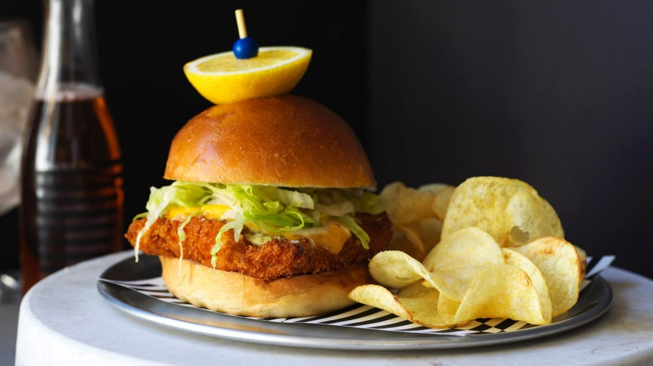 The crispy fish sandwich at Bondi Beach Public Bar.