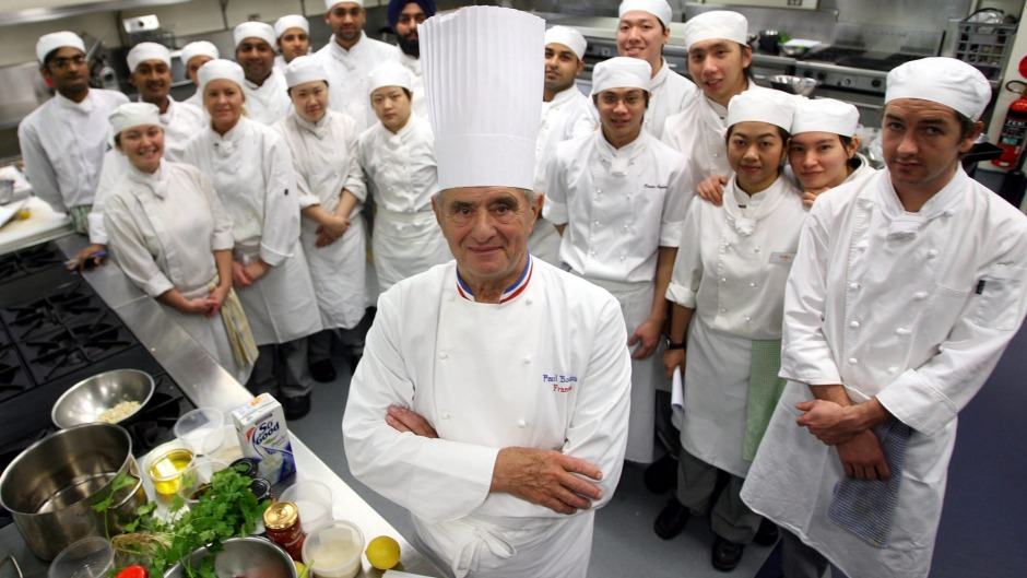 """A great teacher"". Paul Bocuse with students at William Angliss College in Melbourne, June 2006."