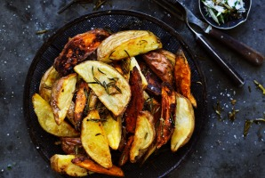 Roast potato wedges.