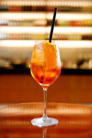 An Aperol spritz at Brunetti.