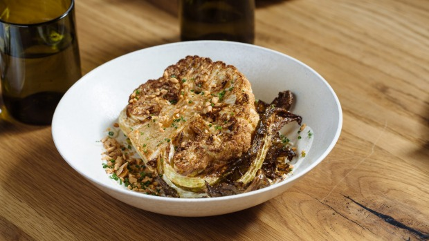 The Town Mouse menu often made vegetables the hero, such as this roast cauliflower, almond and broad bean miso dish.