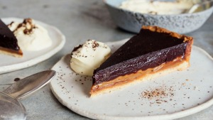 This decadent chocolate tart is sure to be a hit at your next dinner party.
