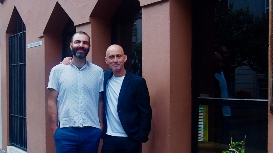 Joseph Abboud and Ari Vlassopoulos outside Bar Saracen in Punch Lane, Melbourne.