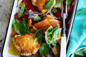 Adam Liaw's chicken, capsicum and basil tray bake recipe.
