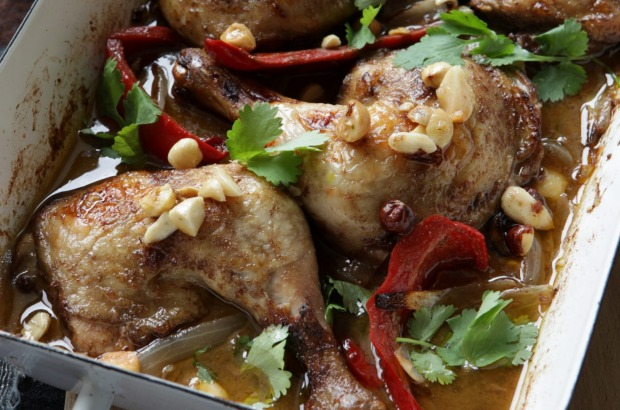 Chicken with saffron, honey and macadamias <a ...