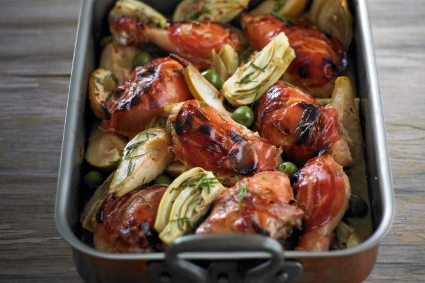 Chicken baked with pears, pancetta, rosemary and fennel <a ...