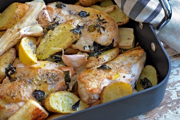 Roasted chicken with parsnip, potatoes, lemon and oregano <a ...