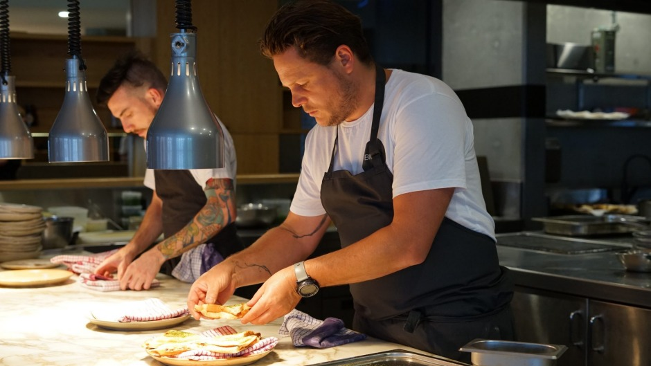 Chef James Viles cooks at an EquiTABLE dinner at the Old Clare, Sydney.