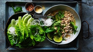 Chicken larb with roasted rice.