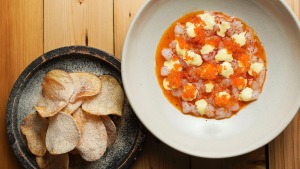 Chips 'n' dips: Scampi and prawn tartare with salt and vinegar crisps.