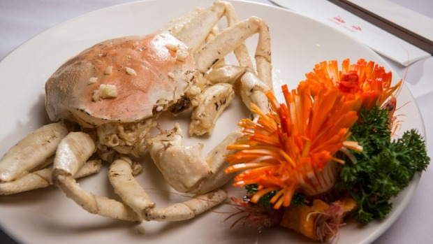 Snow crab with garlic and butter.