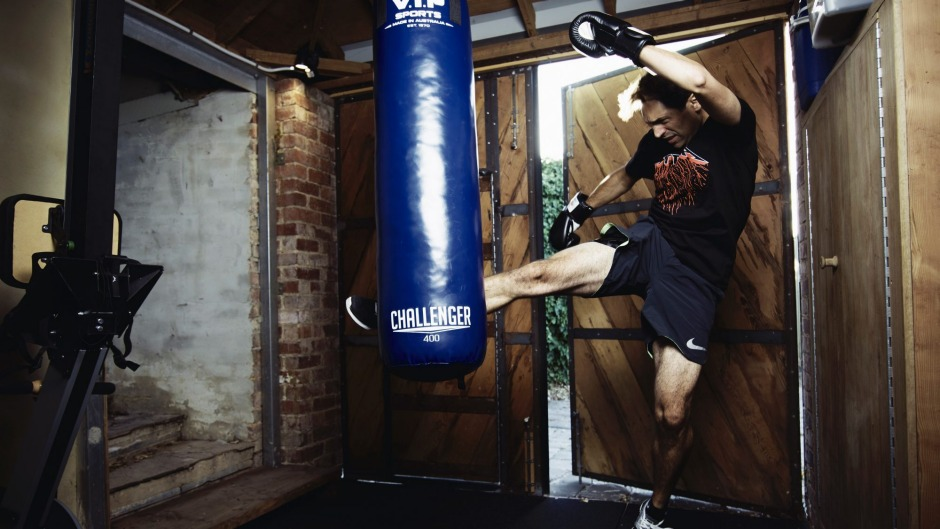 Health reboot: Bew Shewry at his kickboxing studio.
