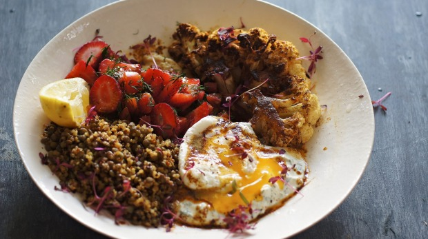 Poached eggs lift a salad to something special. Turkish poached egg, baharat spiced cauliflower, loaded hummus and ...